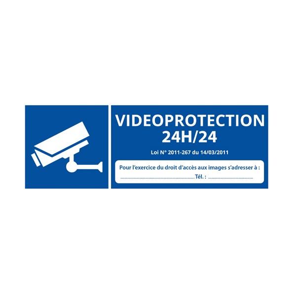 """Panneau d'information """"Vidéoprotection 24H/24"""""""