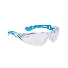 Lunettes de protection Bollé Safety RUSH+ SMALL - incolore - Branches bi-matières bleue/blanc - nez ajustable