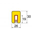 Profil butoir flexible jaune et noir 1 m - modèle G