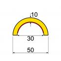 Profil butoir flexible jaune et noir 1 m - modèle R30