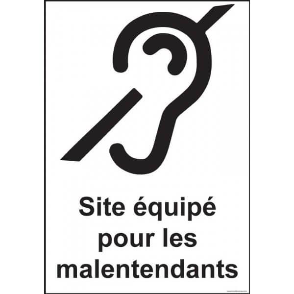 """Panneau signalétique """"Site équipé pour les malentendants"""""""