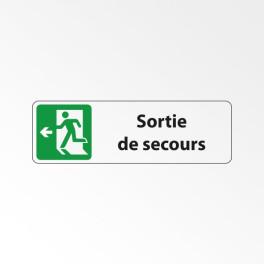 """Panneau Signalétique """"Sortie de secours à gauche"""""""