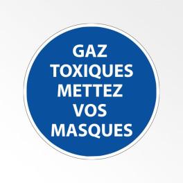 """Panneau d'obligation de port d'EPI """"Gaz toxiques - Mettez vos masques"""""""