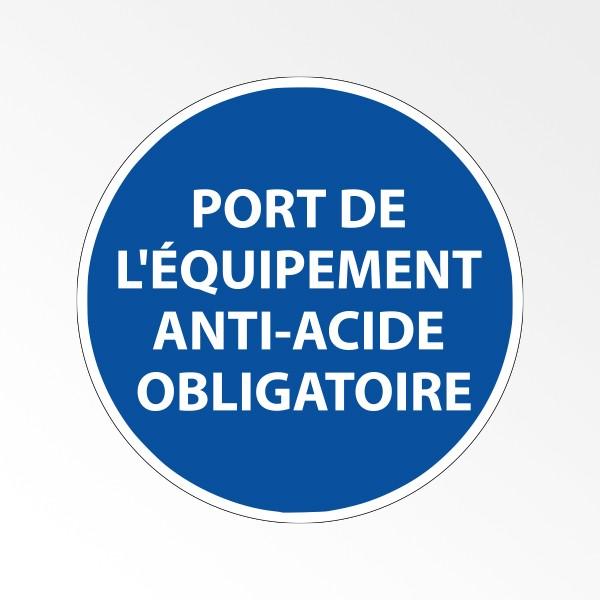 """Panneau d'obligation de port d'EPI """"Port de l'équipement anti-acide obligatoire"""""""