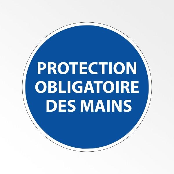 """Panneau d'obligation de port d'EPI """"Protection obligatoire des mains"""""""