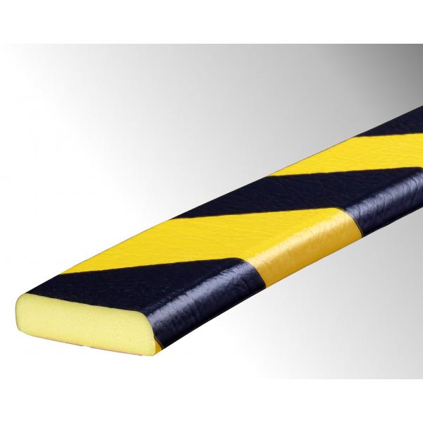 Profil butoir flexible jaune et noir 1 m - modèle F