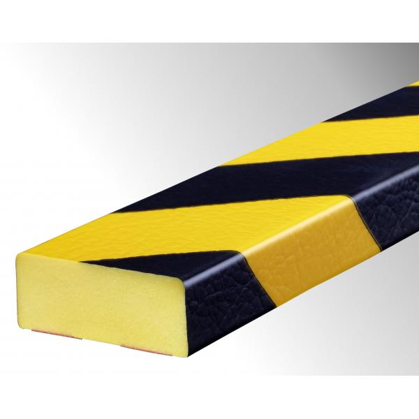 Profil butoir flexible jaune et noir 1 m - modèle D