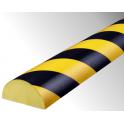 Profil butoir flexible jaune et noir 1 m - modèle C+