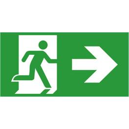 Etiquette de signalisation picto sortie de secours droite pour bloc autonome