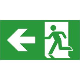 Etiquette de signalisation picto sortie de secours gauche pour bloc autonome