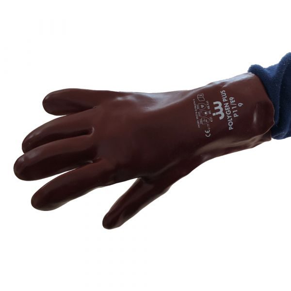 Gant protection chimique produit agressif en PVC