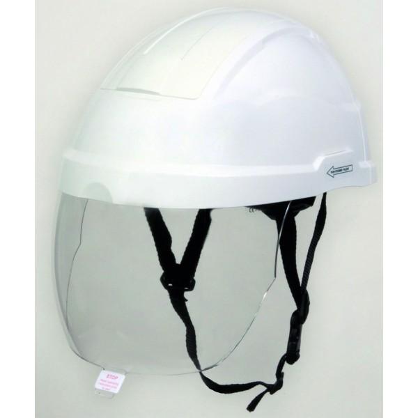 Casque électricien avec écran facial coloris blanc