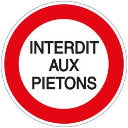 Panneau Interdit aux Piétons - Plat carré Aludibond 250 x 250 mm