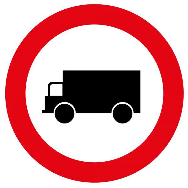 Panneau de Prescription B8 : Accès Interdit aux Véhicules Affectés au Transport de Marchandises