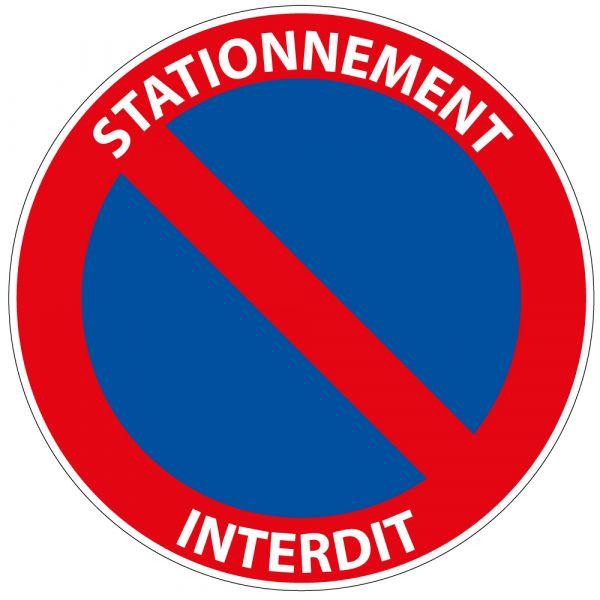 """Panneau de Prescription B6a1 Plat : """"Stationnement Interdit"""" avec Texte"""