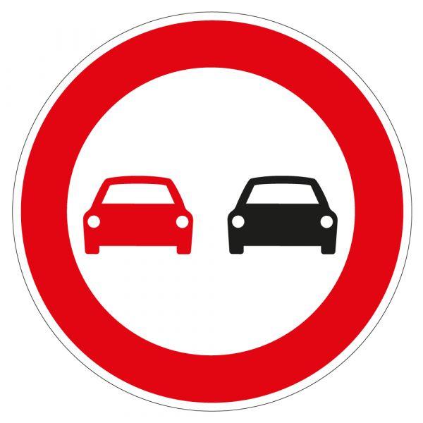 Panneau de Prescription B3 Plat en Aludibond : Interdiction de dépasser tous les Véhicules à Moteur