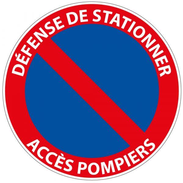 Panneau de Prescription B6a1 Plat en Aludibond : Défense de Stationner Accès Pompiers