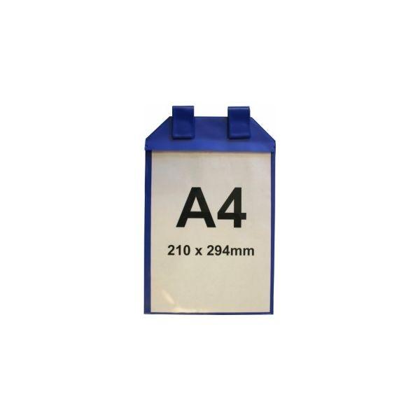 Pochette porte document magnétique bleue avec pattes d'attache format A4