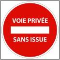 Panneau de circulation Voie privée sans issue - Plat carré Aludibond 250 x 250 mm