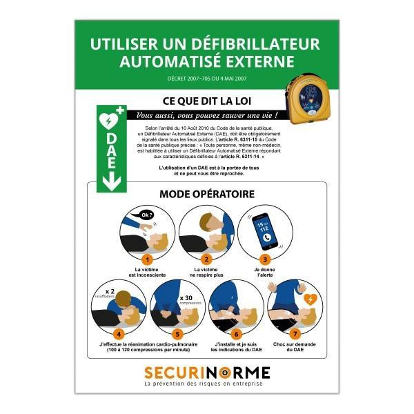 """Poster """"Conduite d'Utilisation d'un DAE"""""""