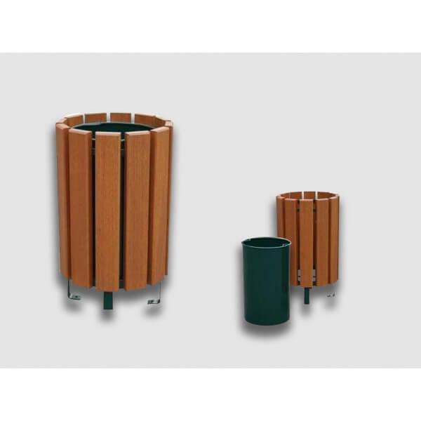 Corbeille / poubelle d'extérieur bois exotique 80 litres