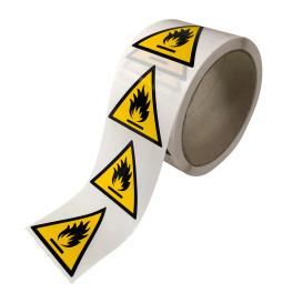 Rouleau d'Etiquettes de Danger ISO EN 7010 - Matières inflammables - W021