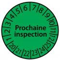 """Pastille colorée à texte """"Prochaine inspection"""" - 4 matériaux"""