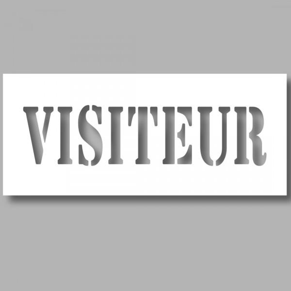 """Pochoir texte PVC - """"Visiteur"""" - 150 x 600 mm"""