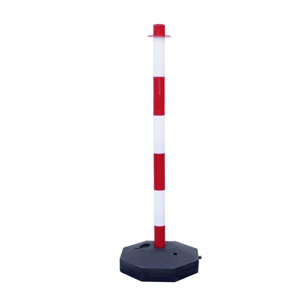 Poteau en PVC économique rouge et blanc