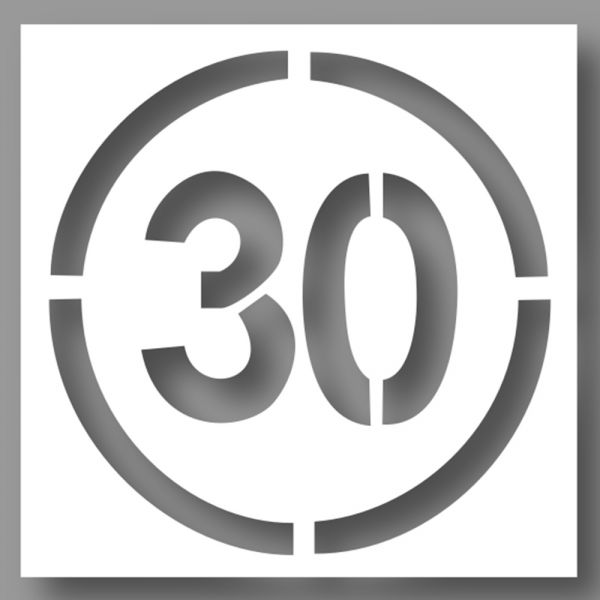 Pochoir PVC - Limitation 30 km/h - 600 x 600 mm