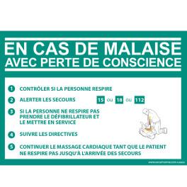 Panneau Consigne Défibrillateur en cas de malaise DAE