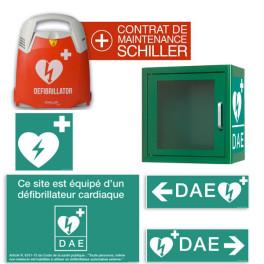 Pack complet DAE Schiller Fred PA-1, signalétique DAE, contrat de maintenance, armoire