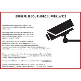 Affiche obligatoire - Entreprise sous vidéosurveillance - A4 - Dématérialisé PDF