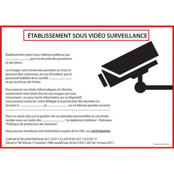 Affiche obligatoire - Etablissement sous vidéosurveillance - A4 - Dématérialisé PDF
