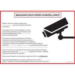Affiche obligatoire - Magasin sous vidéosurveillance - A4 - Rouge - Dématérialisé PDF
