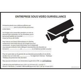 Affiche obligatoire - Entreprise sous vidéosurveillance - A4 - Noir - Dématérialisé PDF