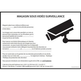 Affiche obligatoire - Magasin sous vidéosurveillance - A4 - Noir - Dématérialisé PDF