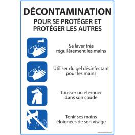 """Panneau """"Décontamination - consignes pour se protéger et protéger les autres"""" - A4 - Dématérialisé PDF"""