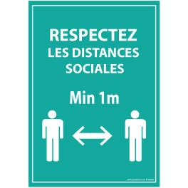 Panneau Respectez les distances - bleu A5-A4 - autocollant ou panneau
