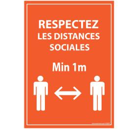 Panneau Respectez les distances - Orange A5-A4 - autocollant ou panneau