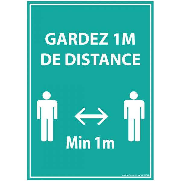 Panneau Gardez 1m de distance - bleu A5-A4 - autocollant ou panneau