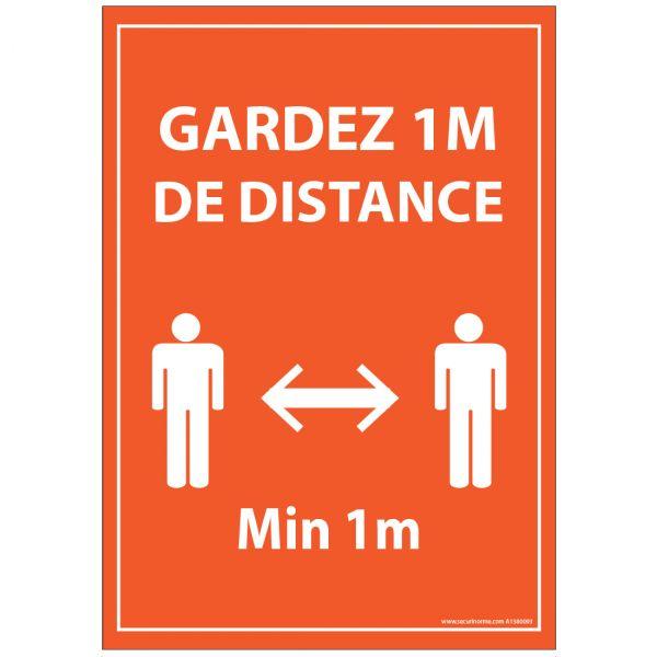 Panneau Gardez 1m de distance - orange A5-A4 - autocollant ou panneau