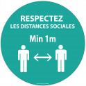 Autocollant Respectez les distances bleu Vinyle Diam: 100mm