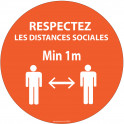 Autocollant Respectez les distances orange Vinyle Diam:100mm