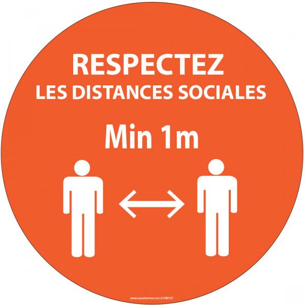 Autocollant Respectez les distances orange Vinyle Diam:100mm