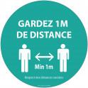 Autocollant Gardez 1m de distance bleu Vinyle Diam:100mm