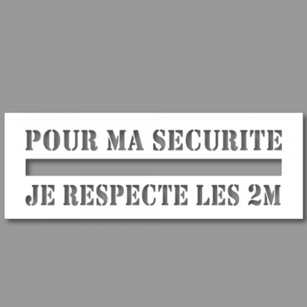 Pochoir Ligne de Sécurité - Pour ma sécurité, je respecte les 2m
