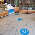 Rond adhésif de marquage au sol pied- Distances sociales - PVC avec adhésif