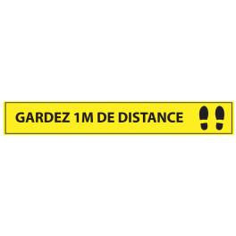 Adhésif de marquage au sol Gardez 1m de distance - 700x100mm - jaune- Distances Sociales