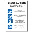 """Panneau """"Gestes Barrière- consignes pour se protéger et protéger les autres"""" - Vinyle/PVC - A5/A4"""